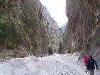 Hiking: people approaching impressive Samaria Gorge