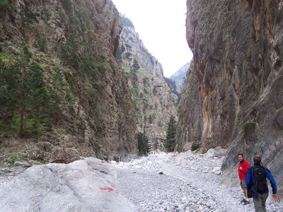 Hiking: people approaching impressive Samaria Gorge