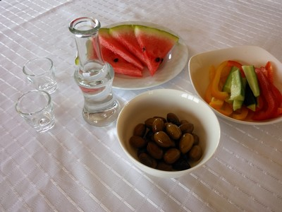 The Raki drink with nibbles