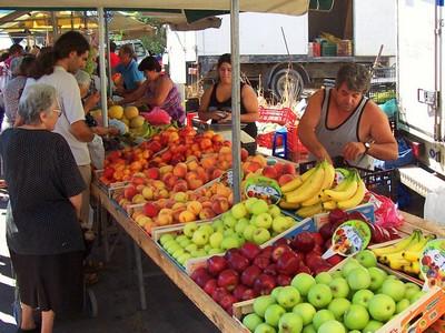 Outdoor street fruit market Chania