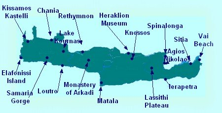 Map of Crete showing Crete Tourist Attractions Beach Resorts
